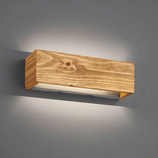LED-vegglampe Brad av tre, up/down, 37x11 cm