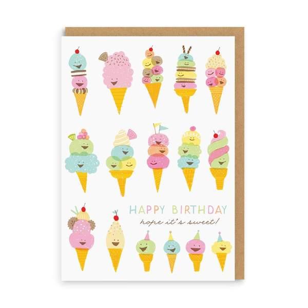 Happy Ice Creams Birthday Greeting Card