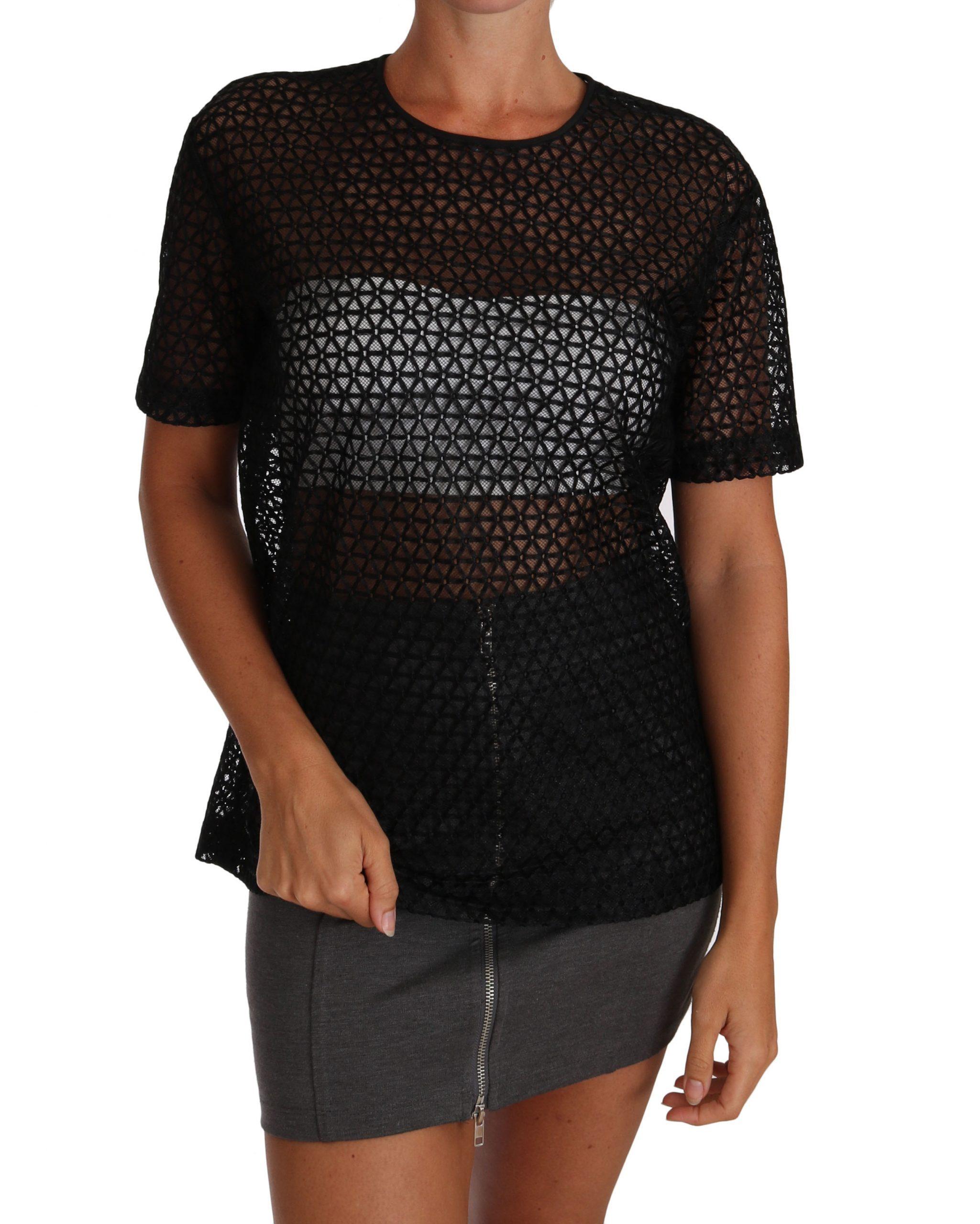 Black Floral Knit Cotton T-shirt - IT40 S