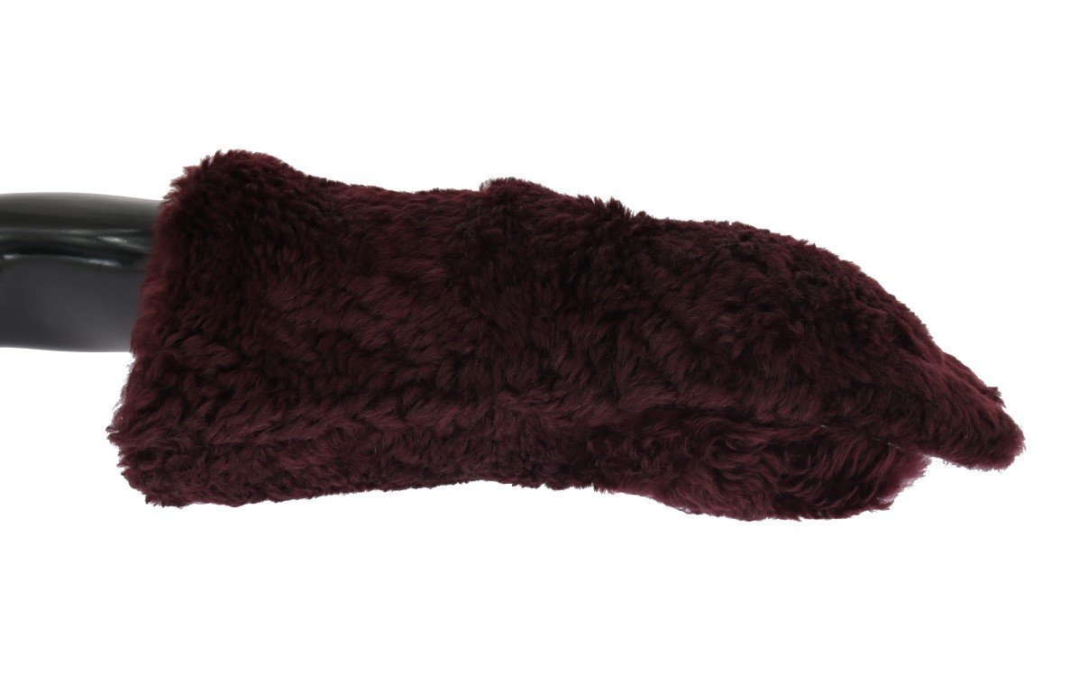 Dolce & Gabbana Men's Leather Shearling Fur Gloves Bordeaux LB157 - 9|M
