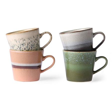 Ceramic 70's Cappuccino Mugg 4 st