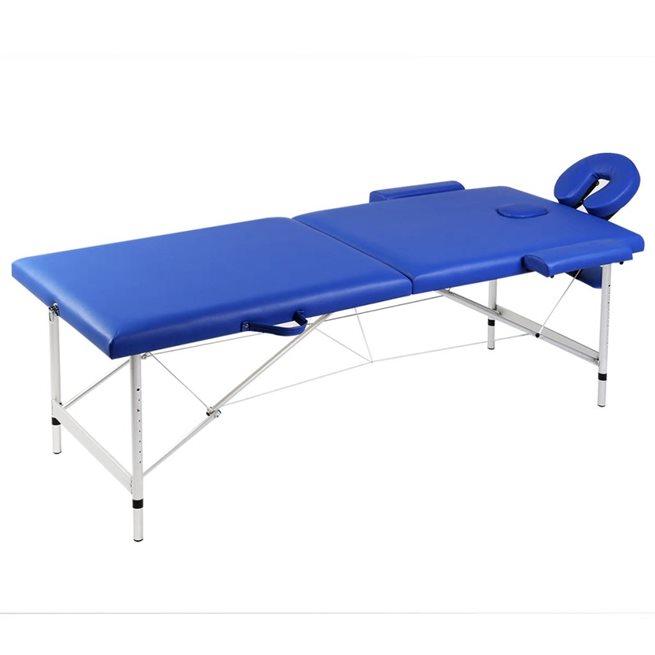vidaXL Hopfällbar massagebänk med 2 sektioner aluminium blå