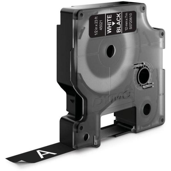 DYMO Standard D1 Teippi 12mm Valkoinen teksti, musta pohja