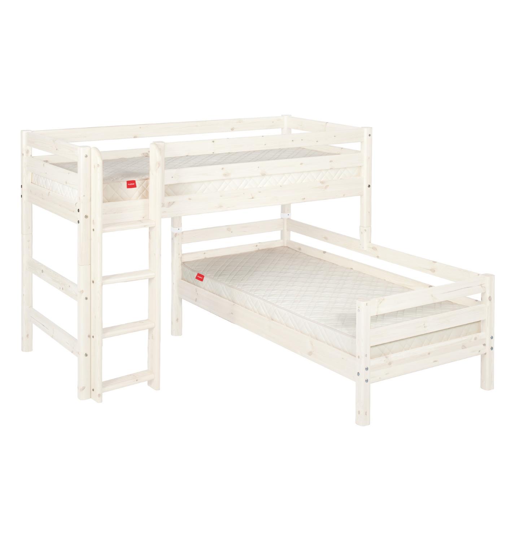 Halvhög loftsäng med säng under- rak stege vit, FLEXA CLASSIC