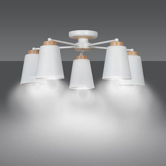 Taklampe Periot med tre, 5 lyskilder, hvit