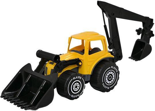 Plasto Traktor Med Frontlaster Og Graveskuffe, Gul/Svart