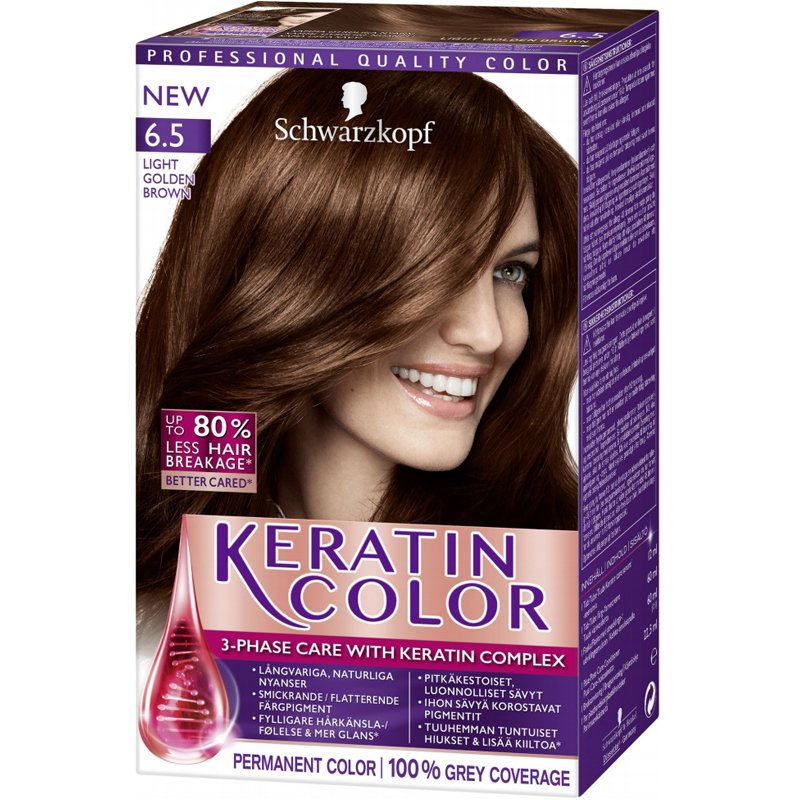 "Hiusväri, ""Keratin Color 6.5 Light Golden Brown"" - 37% alennus"