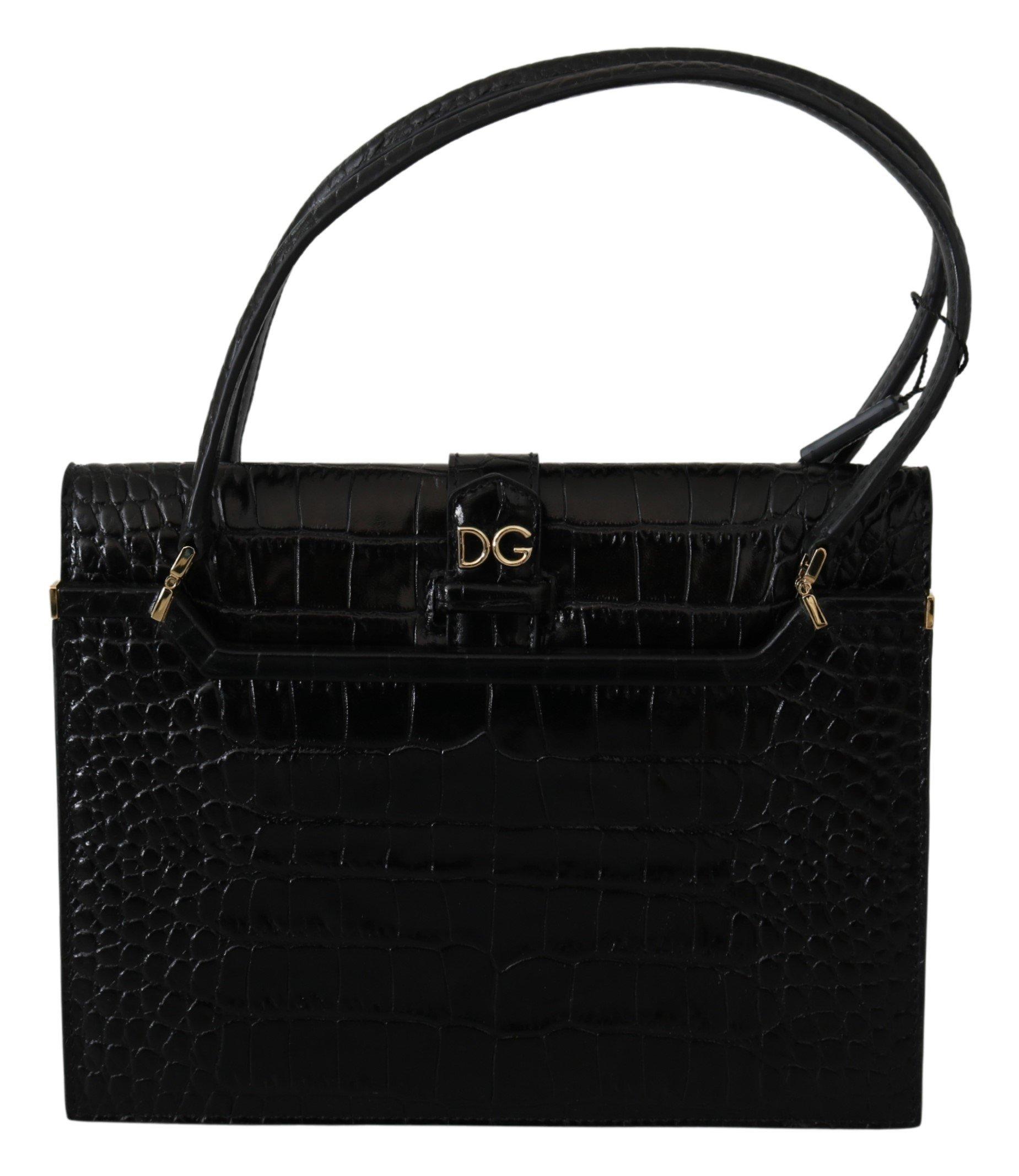 Dolce & Gabbana Women's Crocodile Print Leather Purse Black VAS9768