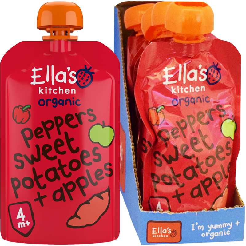 Hel Låda Barnmat Röd paprika, Sötpotatis & Äpplen 7-pack - 53% rabatt