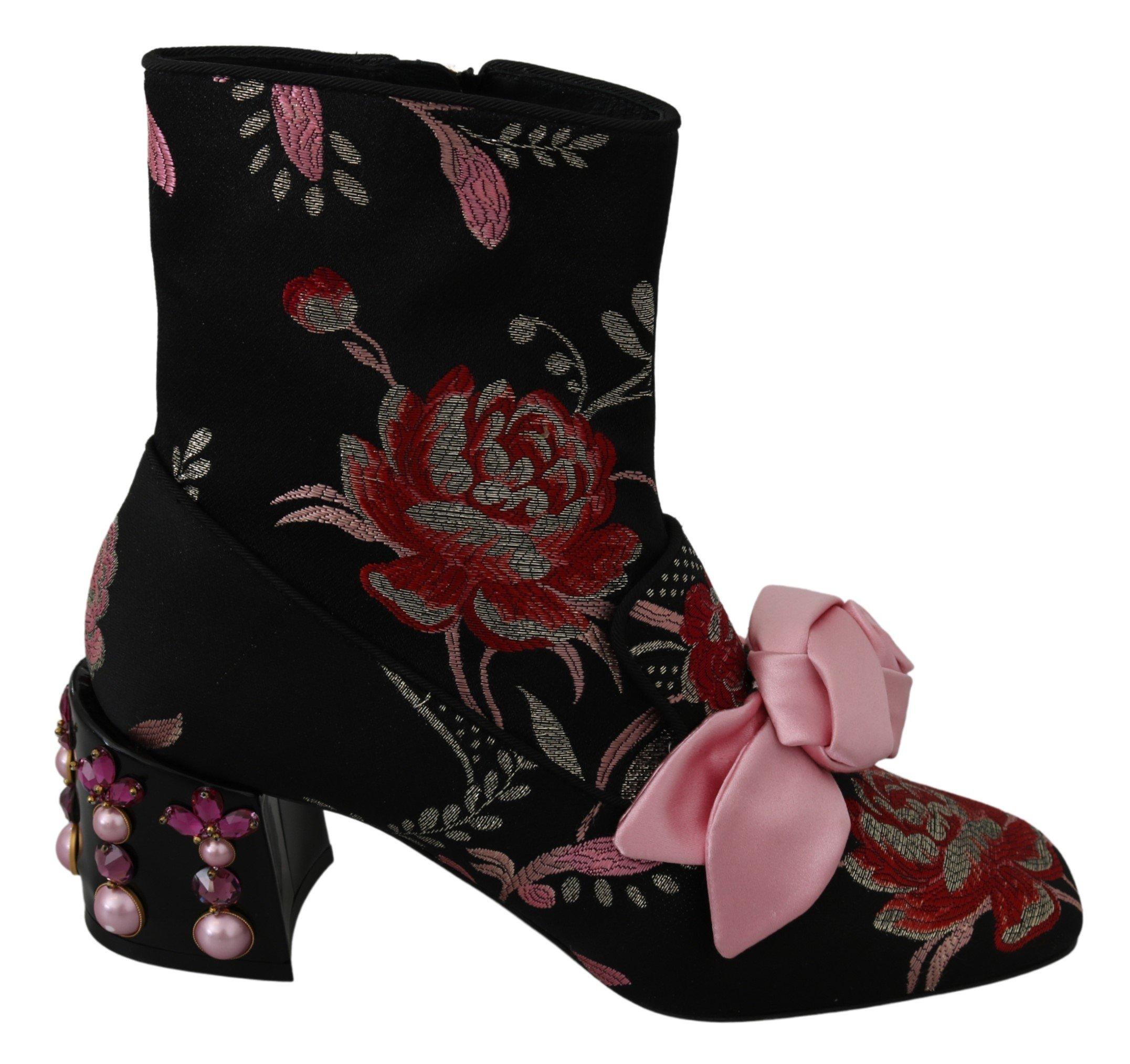 Multicolor Floral Jacquard Boots Shoes - EU39/US8.5