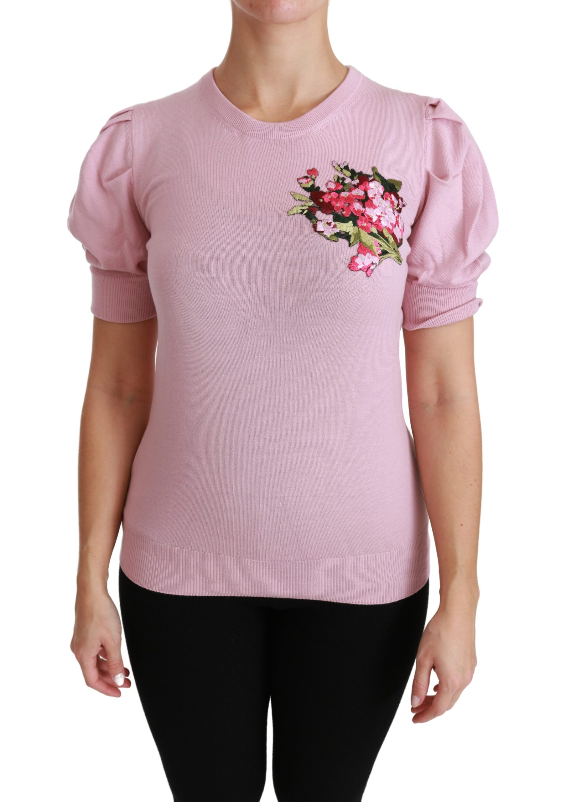 Dolce & Gabbana Women's Floral Embroidered Top Pink TSH4457 - IT46|XL