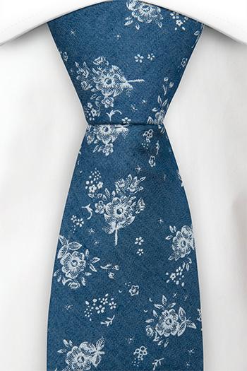 Bomull Slips, Myke, hvite roser på denimblått, Blå, Blomster, Notch ROCKART Blue