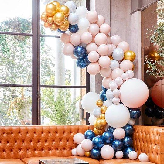 Ballongbåge Deluxe Blå/Guld/Persika Kit