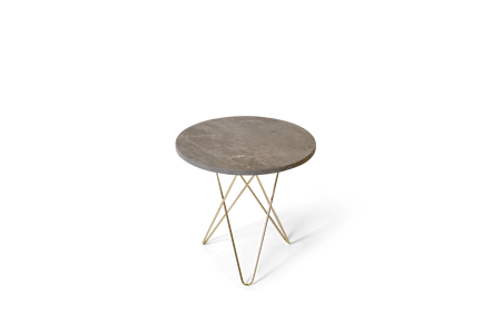 Tall Mini O Table Grå Marmor med Mässingram Ø50