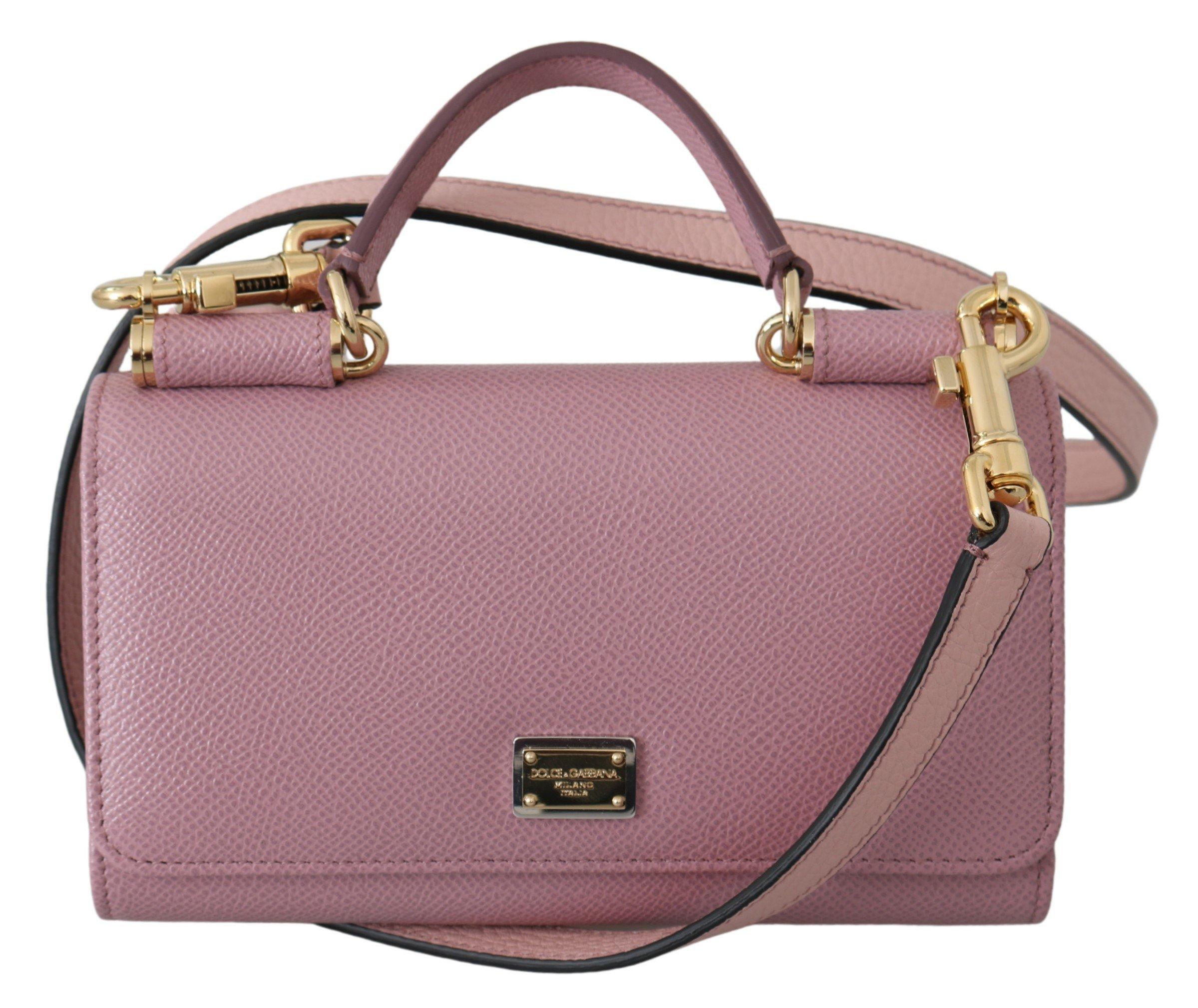 Dolce & Gabbana Women's Dauphine Leather Sicily Crossbody Bag Pink VAS9873