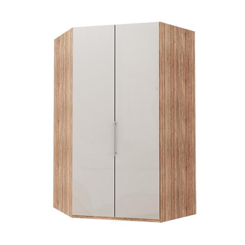 Walk-in Atlanta garderobe 216 cm, Hvitt glass, Lys rustikk eik
