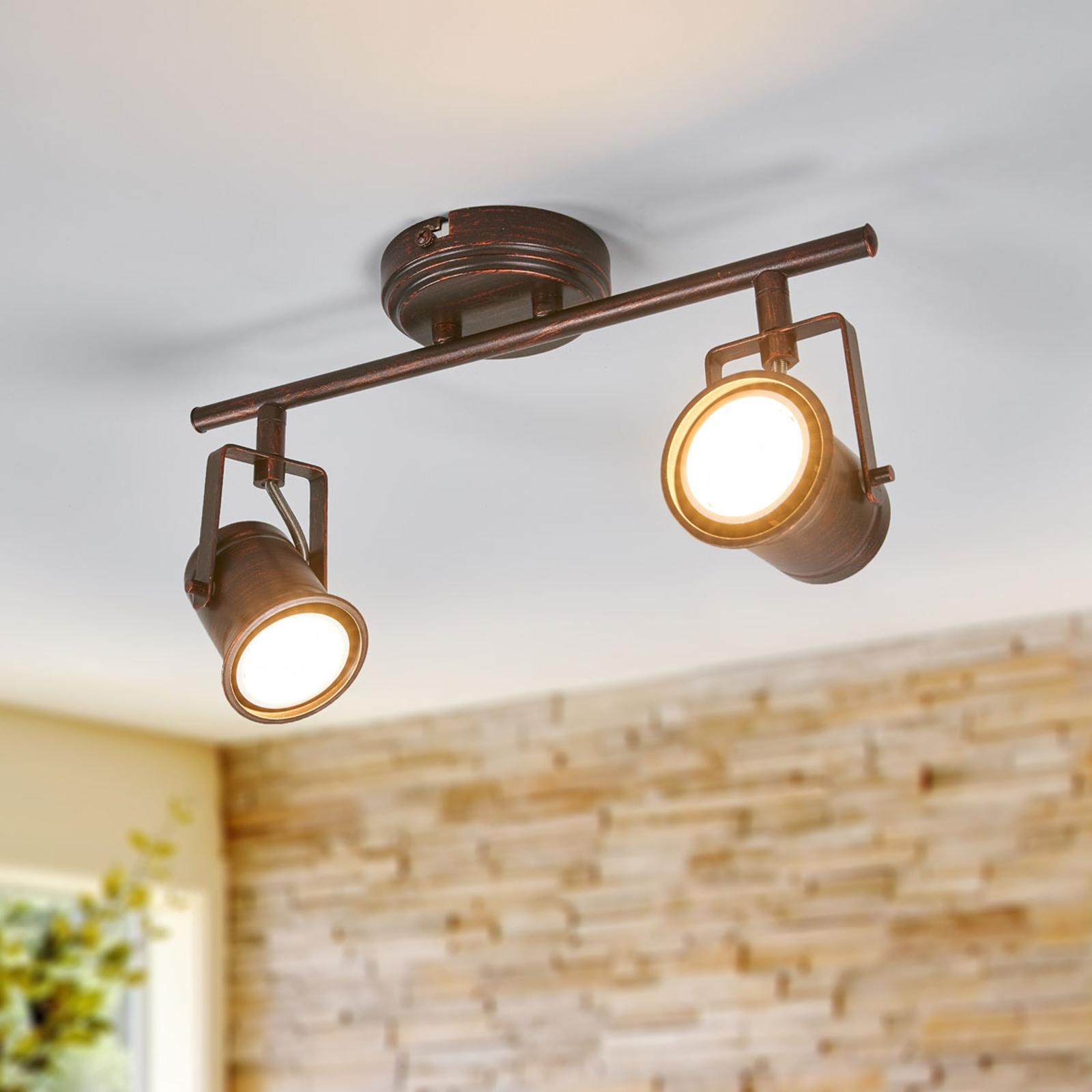 2-lamppuinen Cansu-LED-kattovalaisin, ruskea-kulta