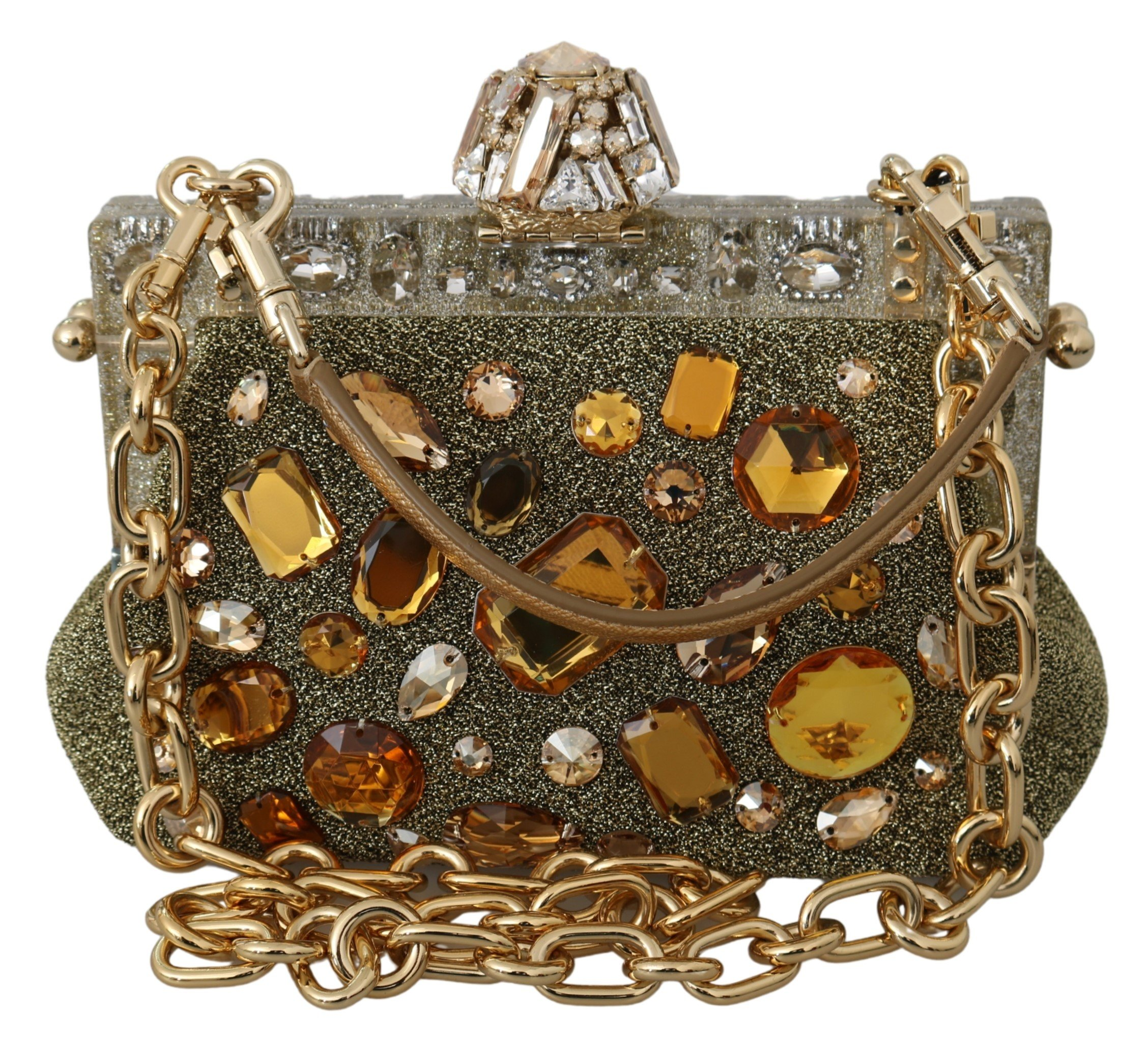Dolce & Gabbana Women's VANDA Crystal Clutch Bag Gold VAS9715