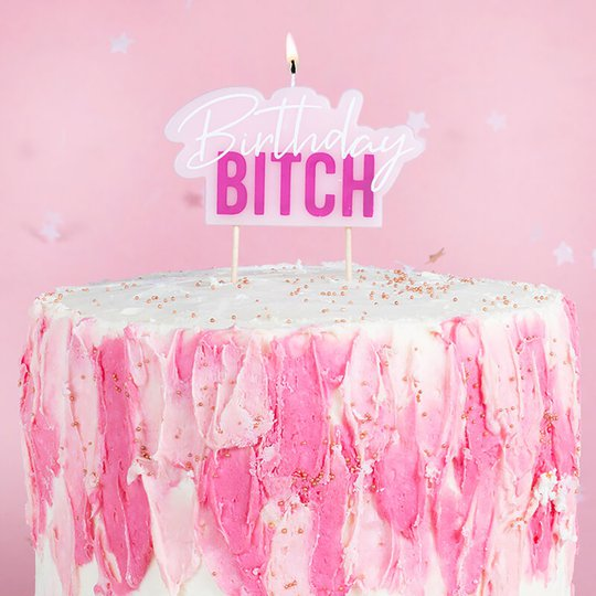 Tårtljus Birthday Bitch Rosa/Vit - 1-pack