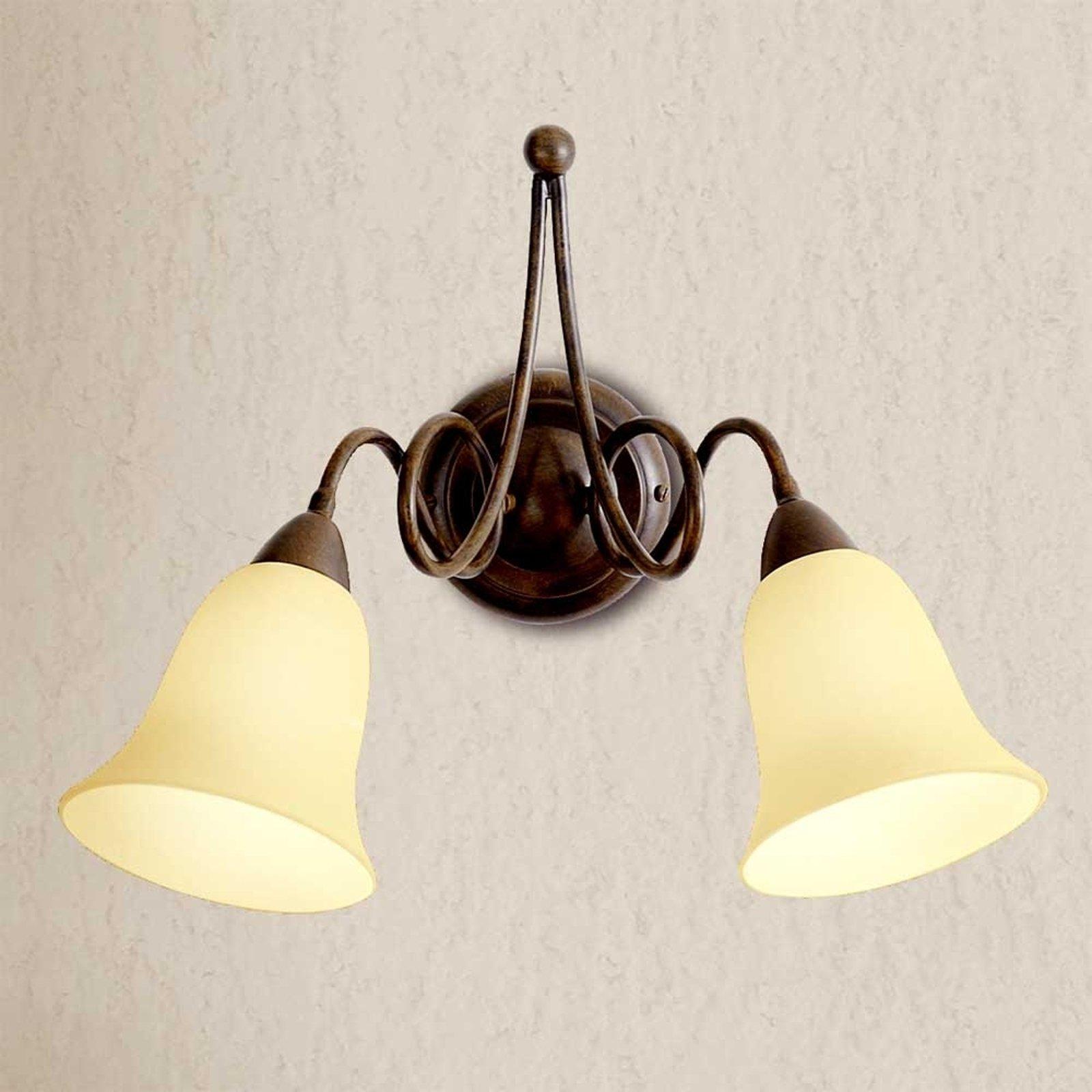Michele - rustikk vegglampe med to lys