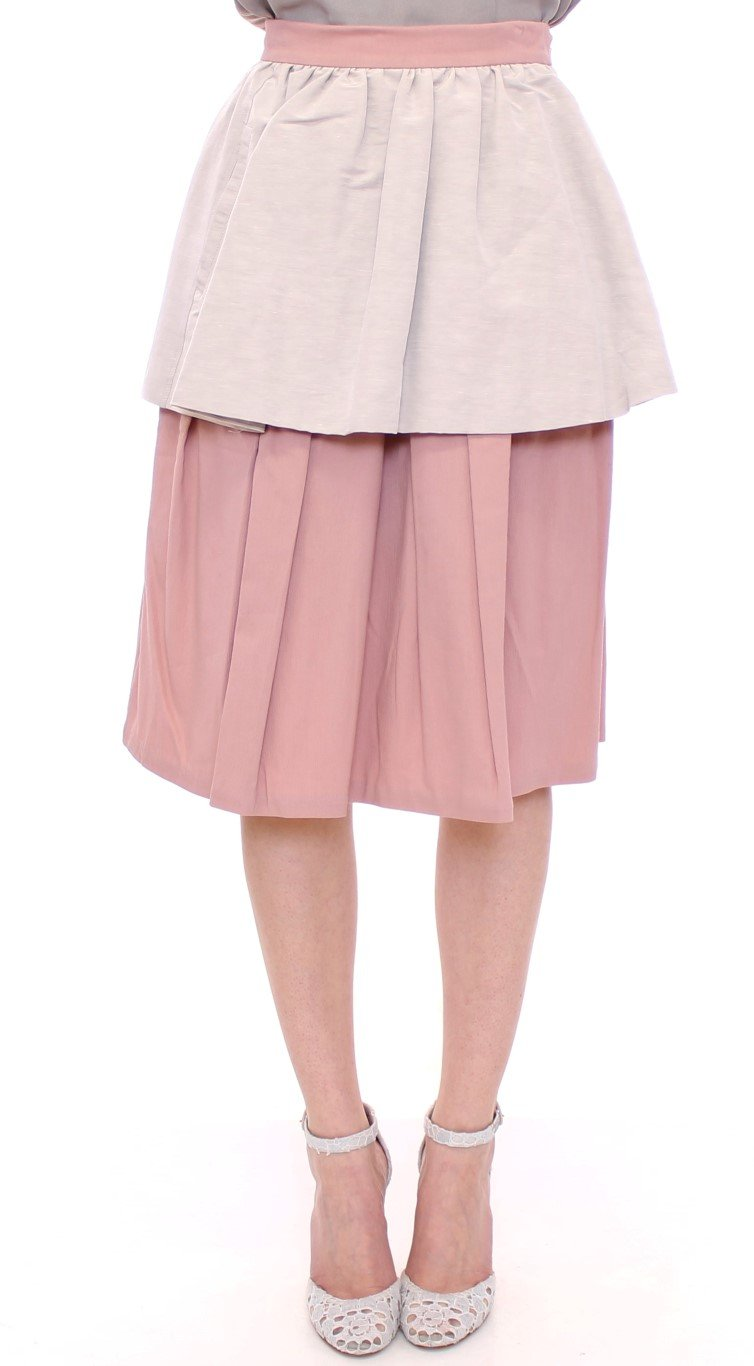 Comeforbreakfast Women's Knee-Length Pleated Skirt Pink MOM10047 - XS