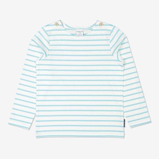 Stripet genser lysblå