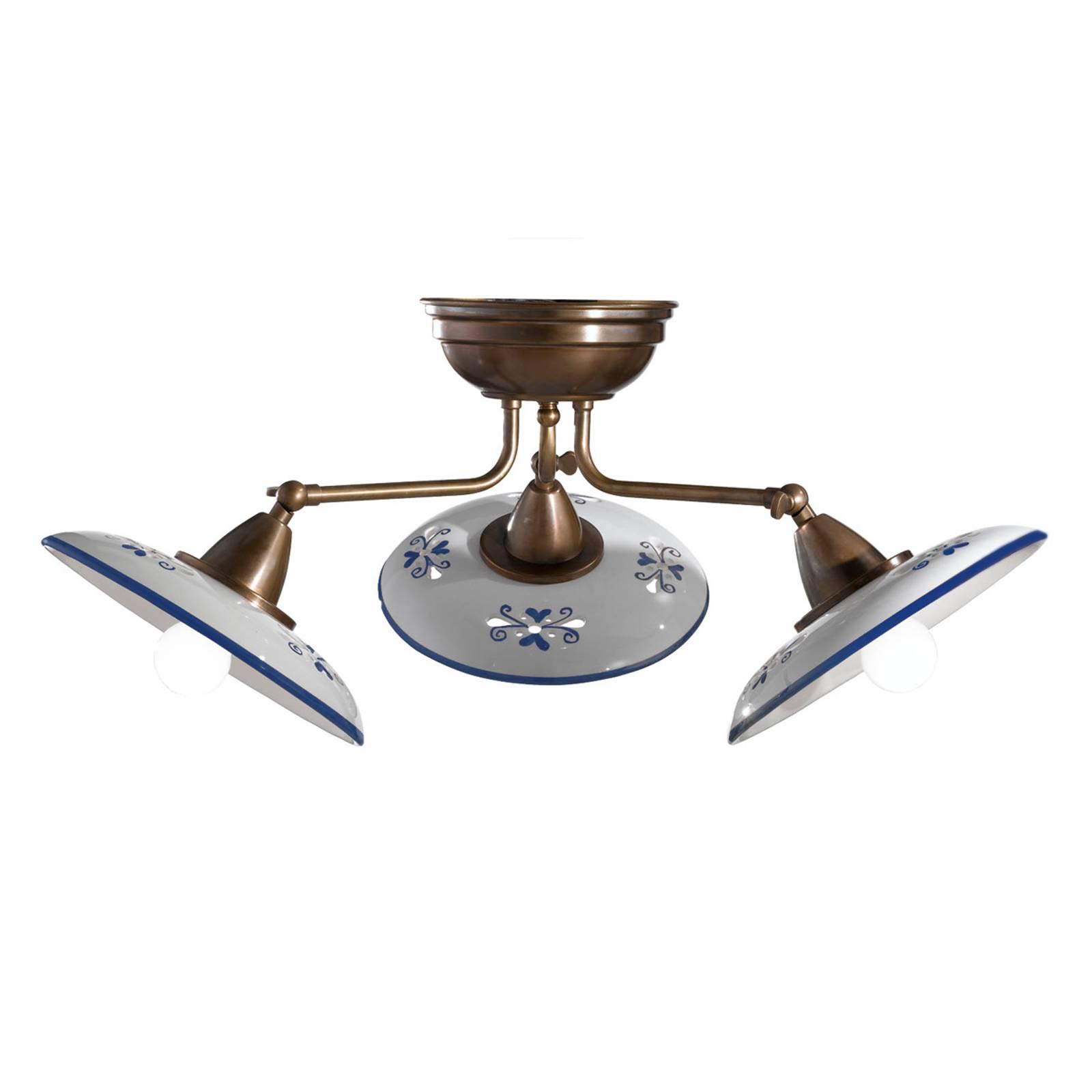 Bassano – 3-lamppuinen keraam. kattovalaisin, sin.