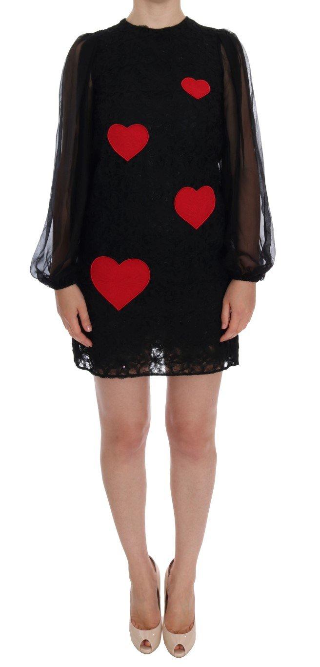 Dolce & Gabbana Women's Lace Red Heart Shift Dress Black DR999 - IT36 | XS