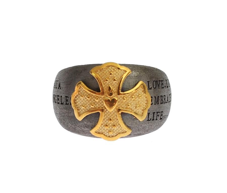 Nialaya Men's Gold Crest 925 Sterling Silver Ring Gray SIG19146 - EU66 | US12