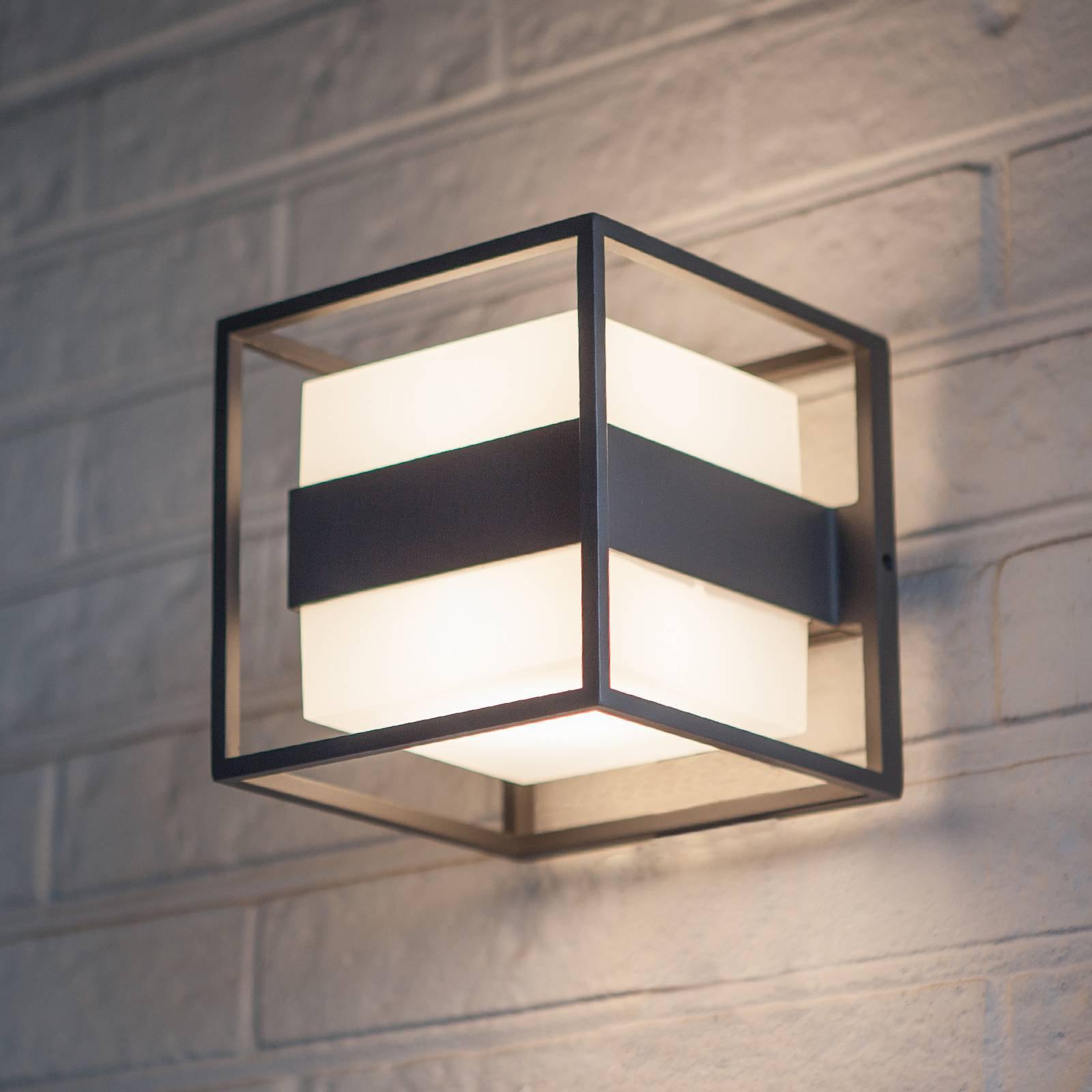 Utendørs LED-vegglampe Cruz, kubeformet