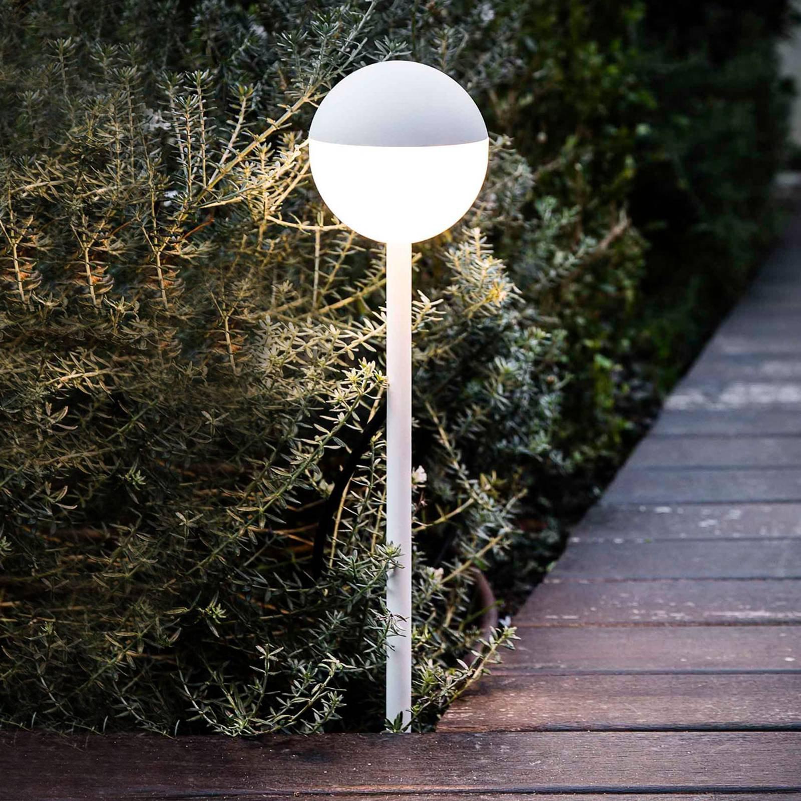 LED-gatelampe Piccola med jordspyd, hvit