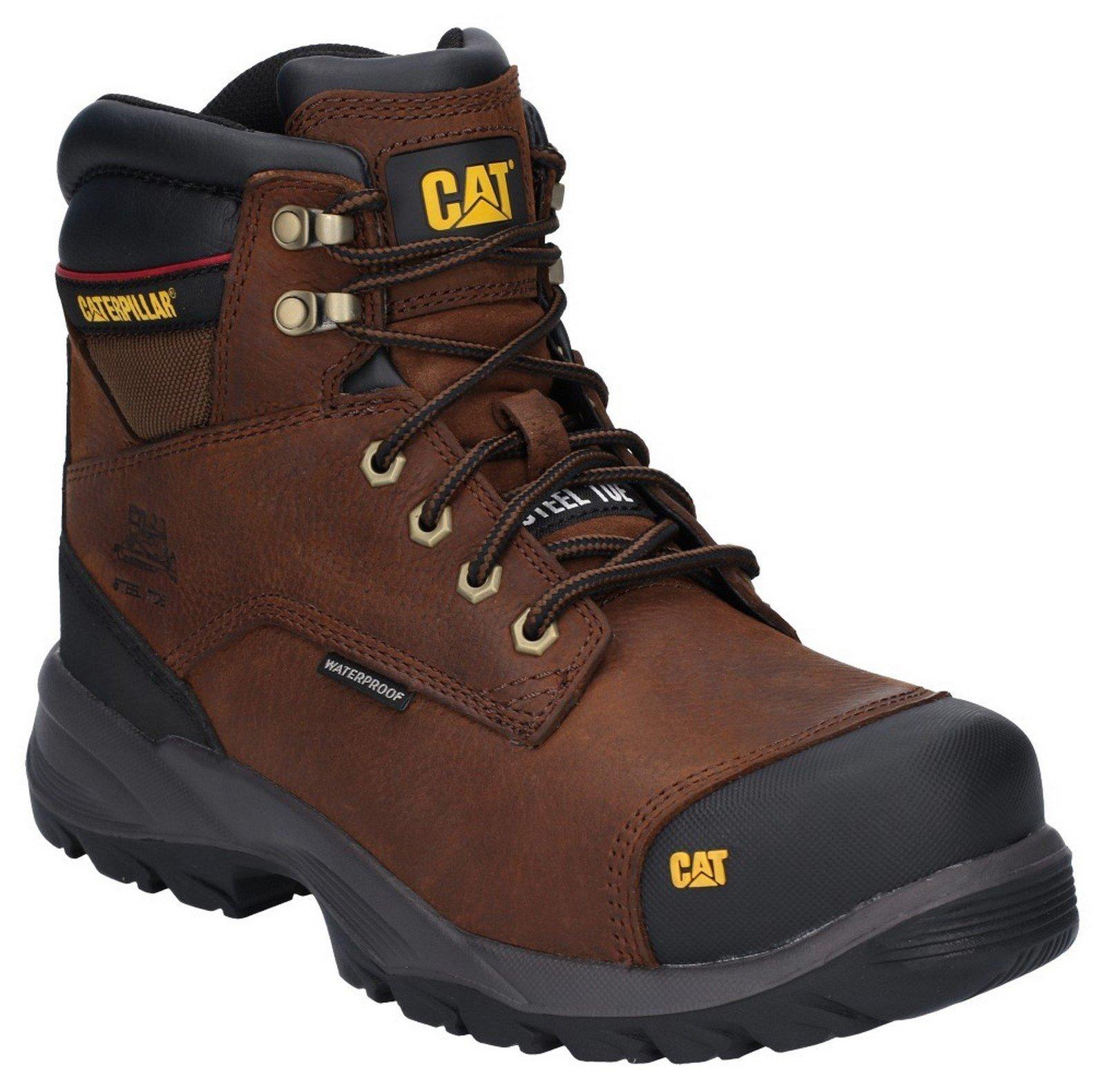 Caterpillar Men's Spiro Lace Up Waterproof Safety Boot Dark Brown 29663 - Dark Brown 6