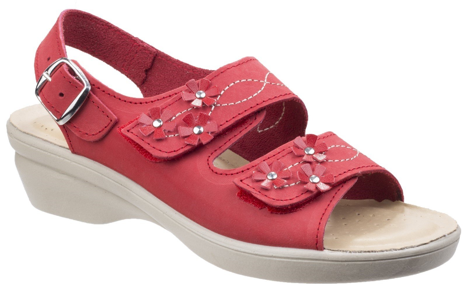 Fleet & Foster Women's Amaretto Touch Fastening Sandal Various Colours 26298 - Red 3