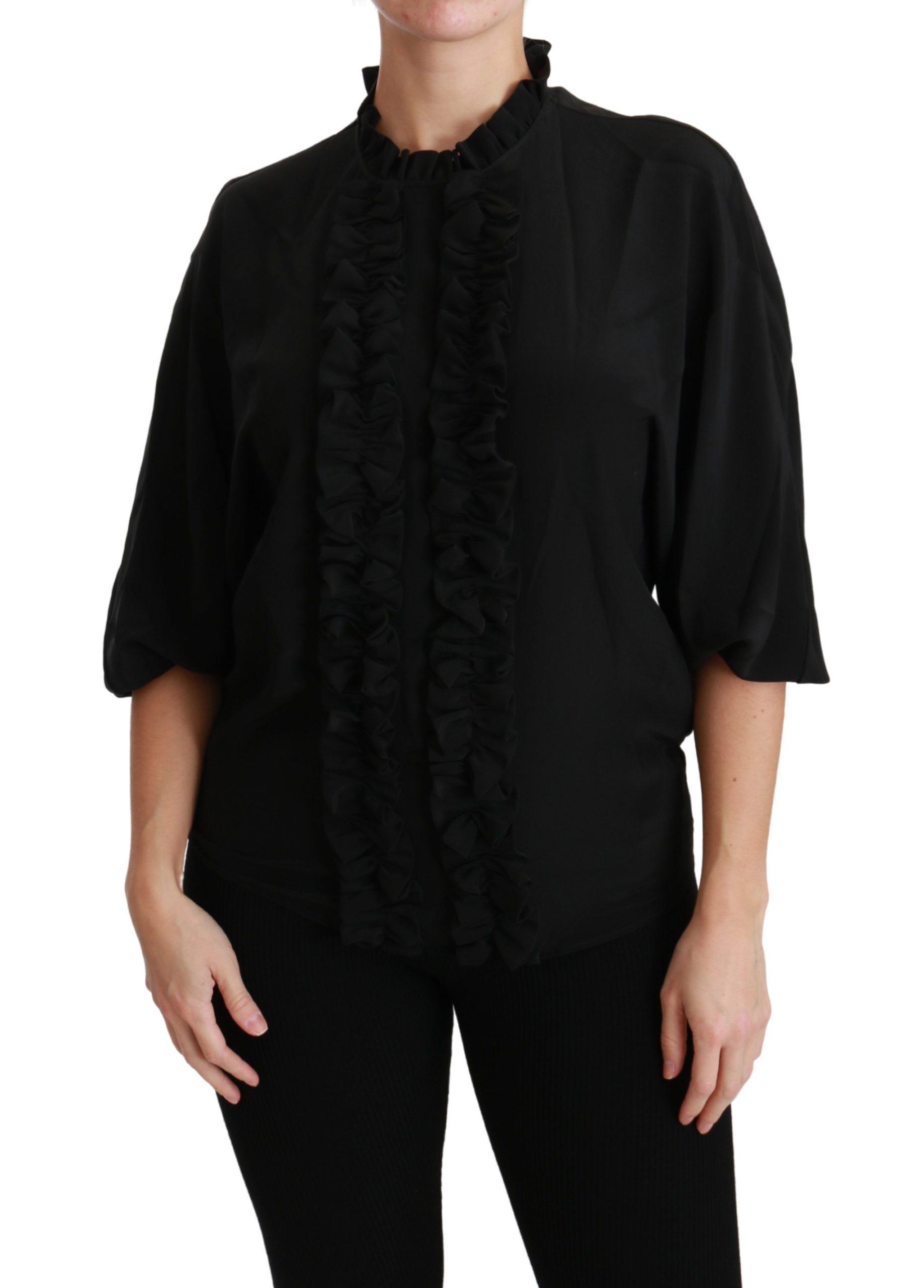 Black Silk Shirt Ruffled Top Blouse - IT36 | XS