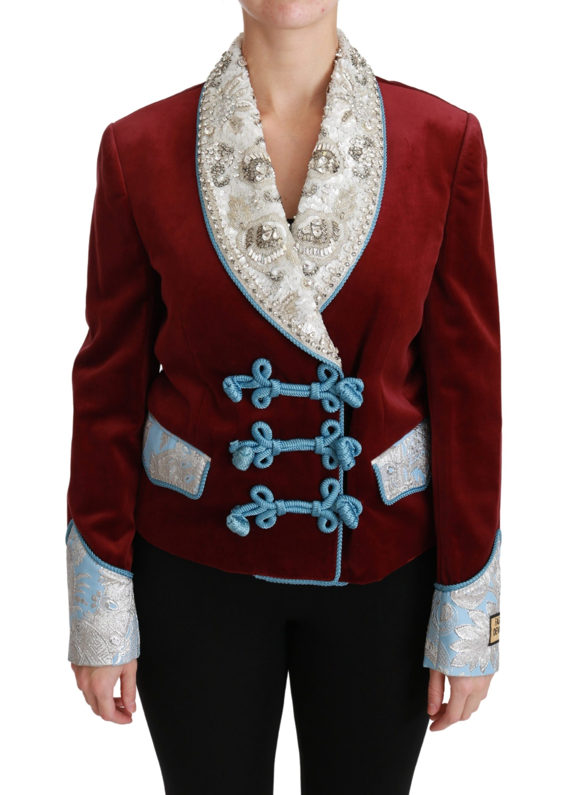 Dolce & Gabbana Women's Baroque Crystal Blazer Jacket Red JKT2558 - IT38 XS