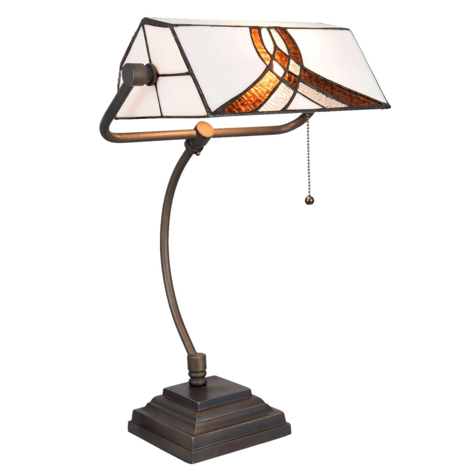 5195 skrivebordslampe med hvit-brun glasskjerm