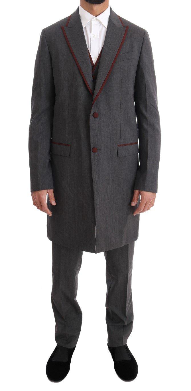 Dolce & Gabbana Men's Wool Stretch 3 Piece Two Button Suit Gray KOS1091 - IT48 | M