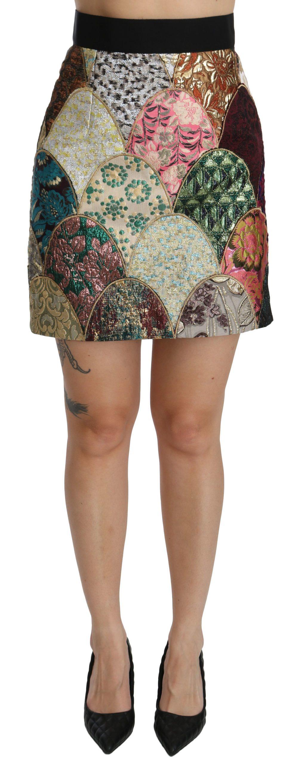 Dolce & Gabbana Women's Jacquard High Waist Mini Skirt Multicolor SKI1361 - IT40|S