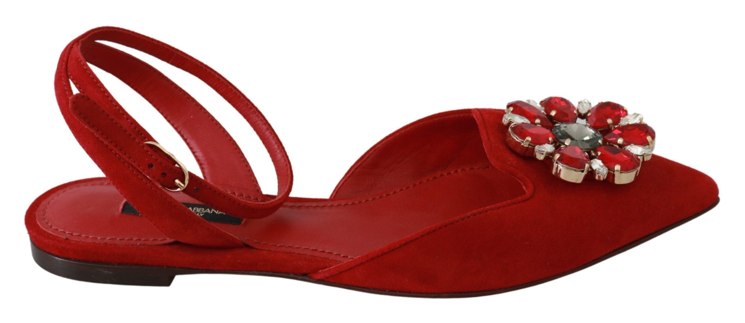 Dolce & Gabbana Women's Suede Leather Crystal Sandal Red LA6488 - EU35/US4.5