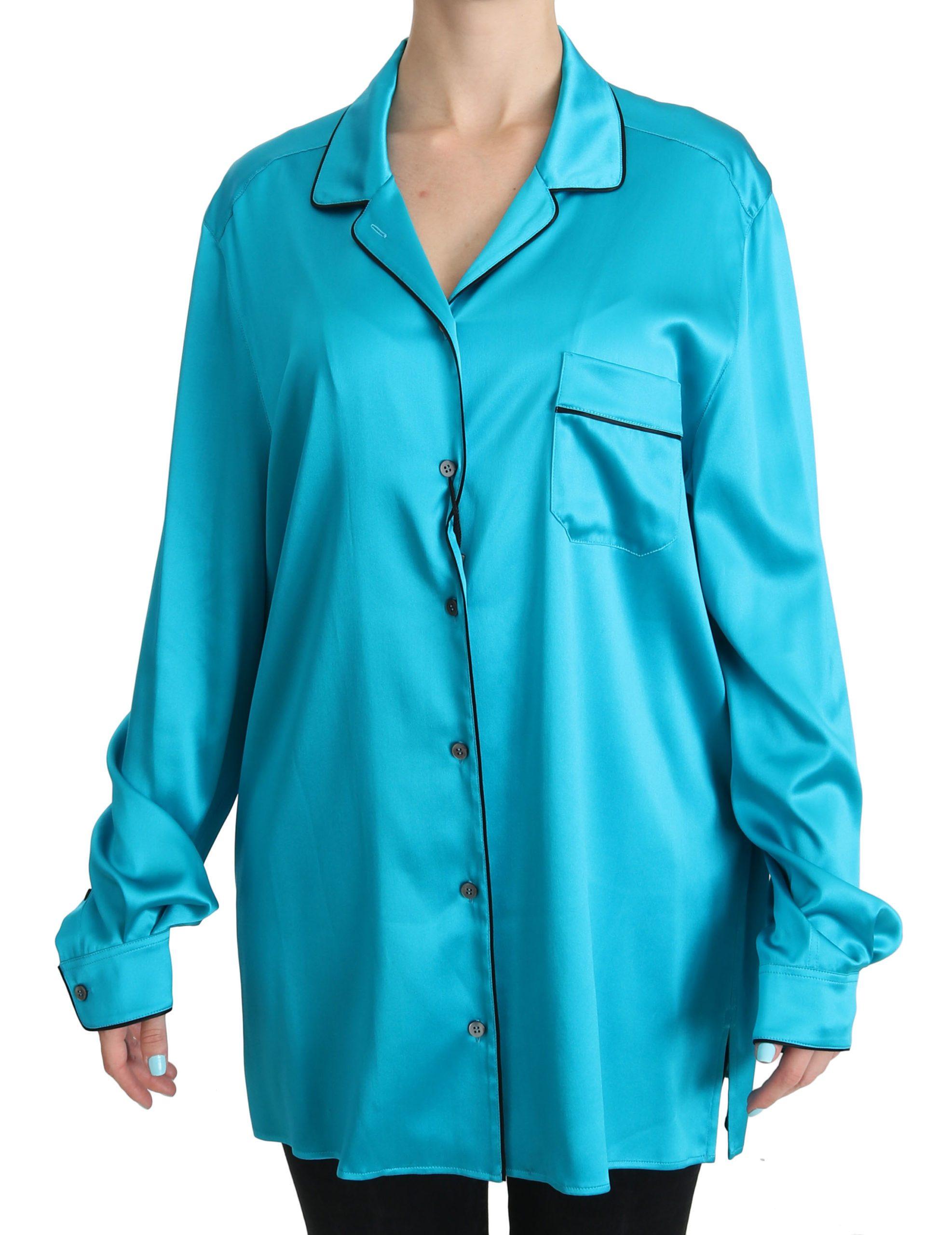Dolce & Gabbana Women's Stretch Pyjama Shirt Blue TSH3872 - IT48 XXL