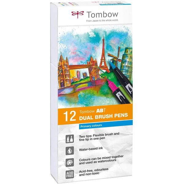 Tombow ABT Primary Colours Brush Pens - Set of 12