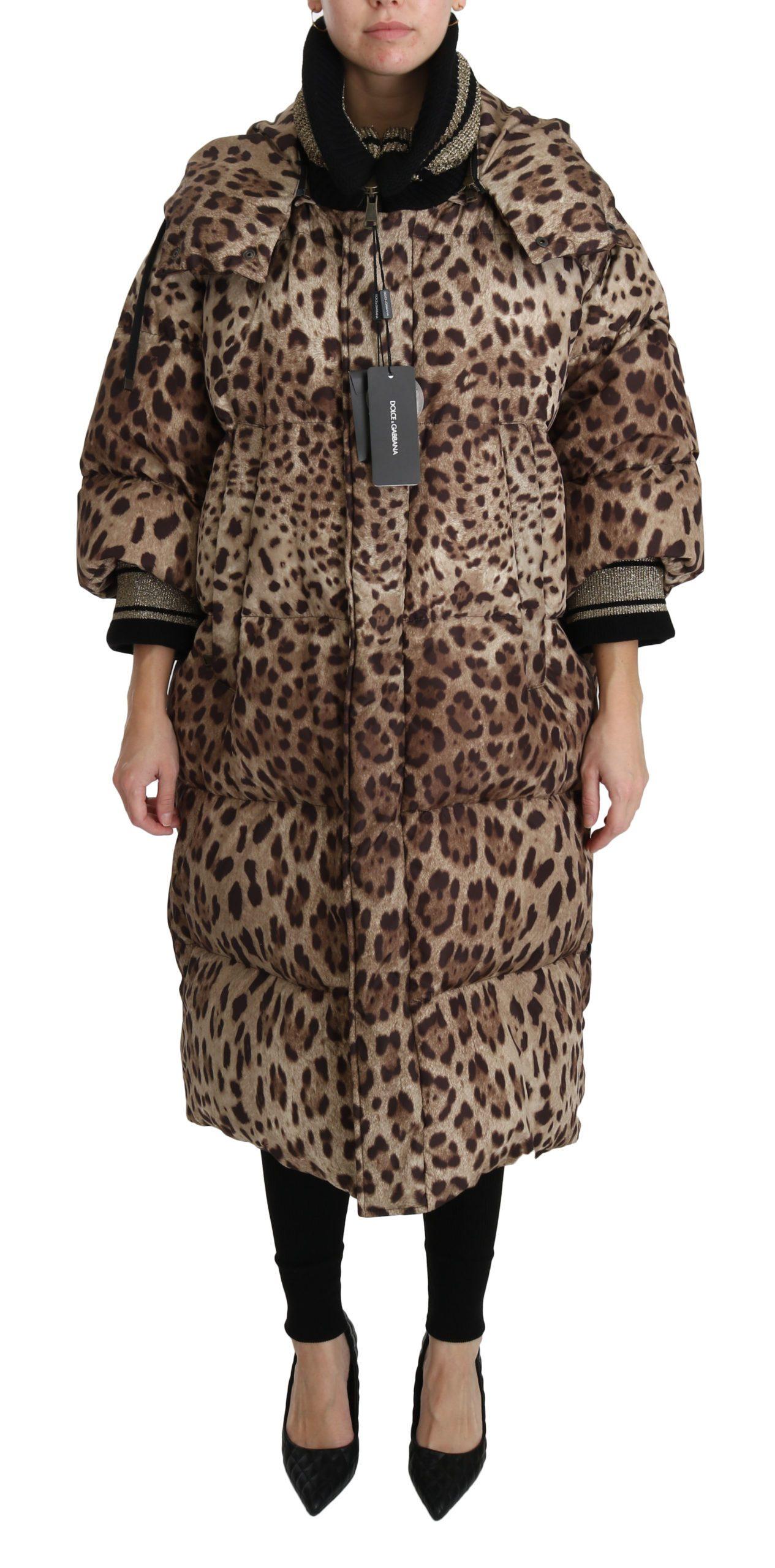 Dolce & Gabbana Women's Leopard Down Hooded Coat Jacket Brown JKT2510 - IT38 | S
