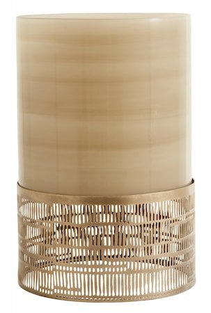 Lysestake glass & Metall brun 30cm