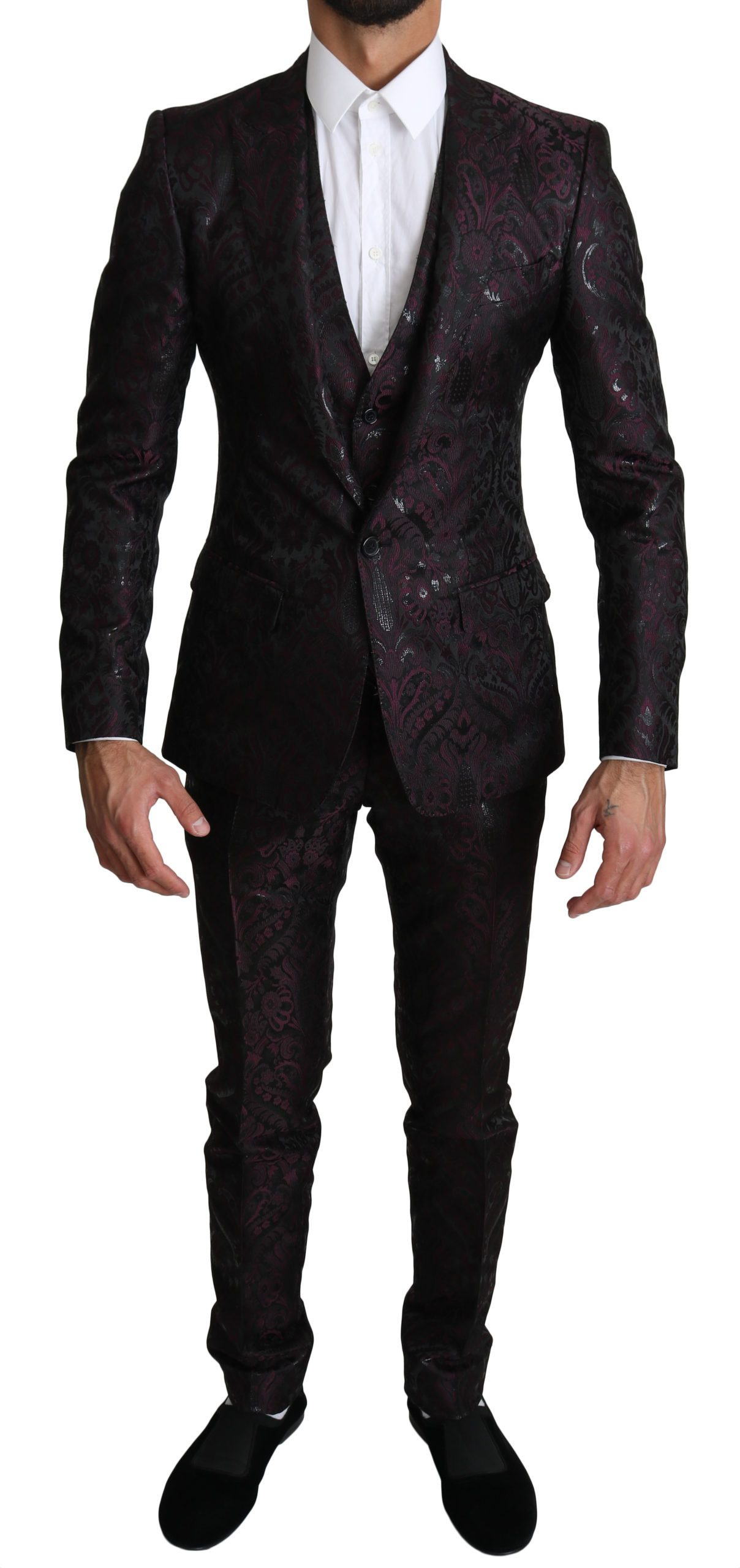 Dolce & Gabbana Men's Floral Brocade 3 Piece MARTINI Suit Purple KOS1516 - IT44 | XS