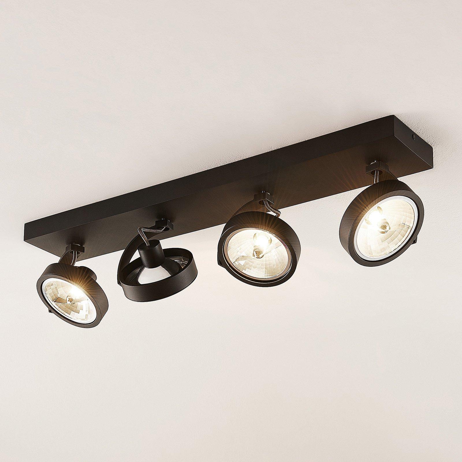Arcchio Dagur-taklampe, 4 lyskilder, svart