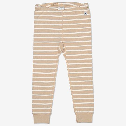 Stripet bukse baby beige