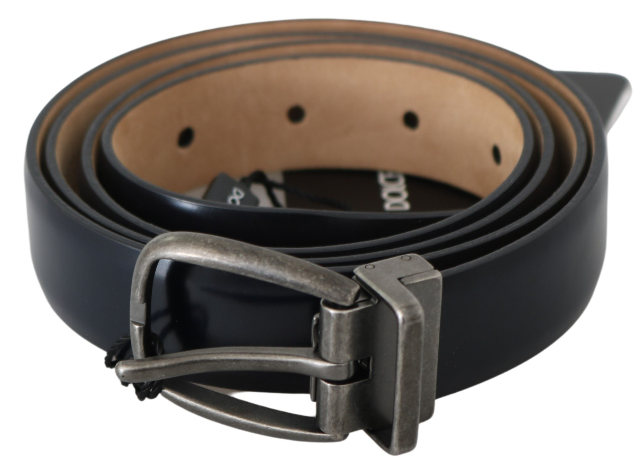 Dolce & Gabbana Men's Leather Brushed Buckle Belt Black BEL60685 - 105 cm / 42 Inches