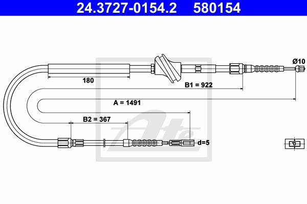Käsijarruvaijeri ATE 24.3727-0154.2