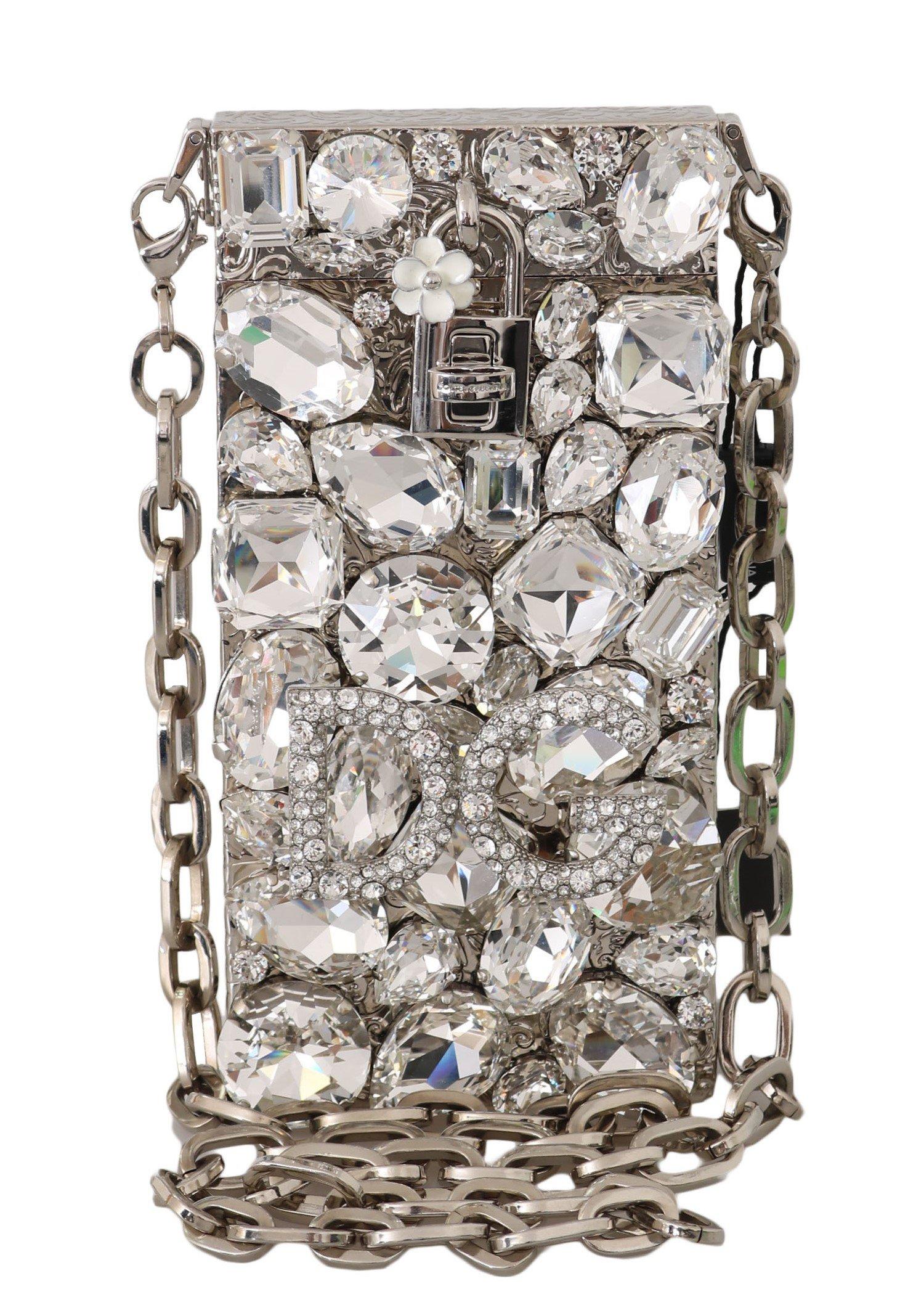 Dolce & Gabbana Women's Crystal Brass Crystal Crossbody Bag Silver VA1140