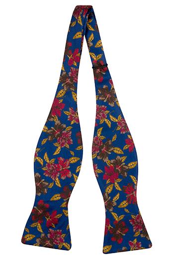 Silke Sløyfer Uknyttede, Flerfargede blomster på koboltblå, Blå, Blomstrete